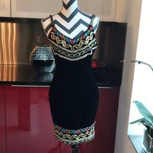 Vintage Black Velvet Sequin Dress